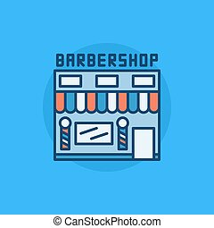 Barbershop building flat icon