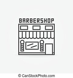 Barbershop building icon - vector hairdresser salon symbol...