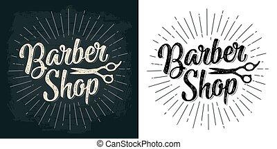 BarberShop calligraphic lettering and scissors. Vector hand...