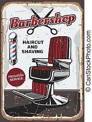 Barbershop chair and scissors, retro vector - Barbershop...