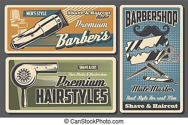 Barbershop chair, haircut machine, straight razor