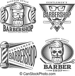 Barbershop Design Elements Set - Four isolated barbershop...