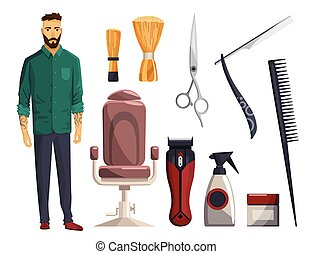 Barbershop equipments. Vintage barber shop set items. Razor blade, hair clipper, scissors, comb, straight razor. Haircuts salon design elements. Accessories with model man.