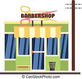 barbershop, front., 矢量, 插圖