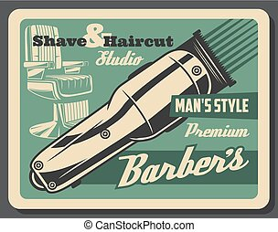 Barbershop haircut and beard shave salon