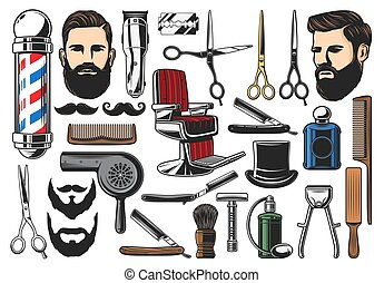 Barbershop haircut and shave tools - Barber tools,...