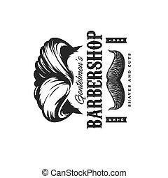Barbershop haircut salon, man beard and mustaches
