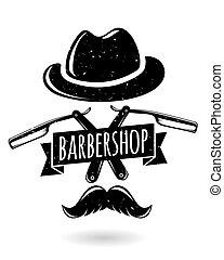 Barbershop hipster logo