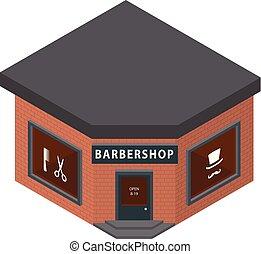 Barbershop icon, isometric style