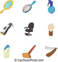 Barbershop icons set, cartoon style