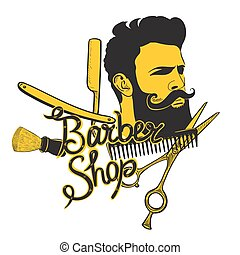 Barbershop logo in yellow-black colors isolated on white background