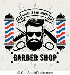 Barbershop Logo with barber pole in vintage style