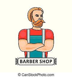 Barbershop logo with handsome hipster barber