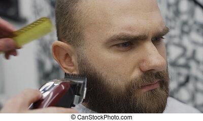 barbershop., machine, coiffeur, barbu, hairstyling, process...