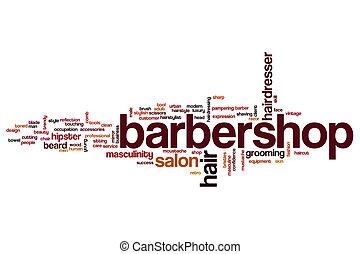 barbershop, palavra, nuvem