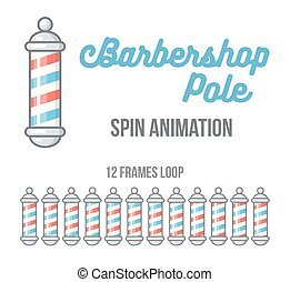 Barbershop pole spinning animation. Animated app loader or web icon illustration.