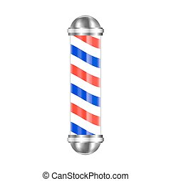 Barbershop pole isolated on white background. Vector illustration.