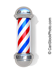 Barbershop Pole on a white background. 3D illustration. -...