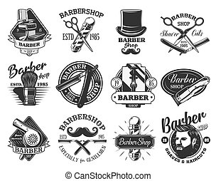 Barbershop retro vector icons. Hair cutting, beard and mustache shaving, pole of barber shop, straight razor and hipster man head, gentleman hairdresser chair, grooming shaver, scissors