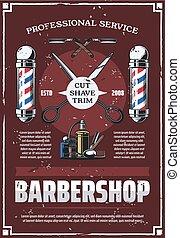 Barbershop pole, scissors, comb, razor and cologne