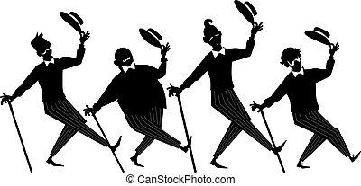 Barbershop quartet clip-art - Black vector silhouette of a...