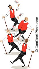 Barbershop quartet - Four singers in traditional stage...