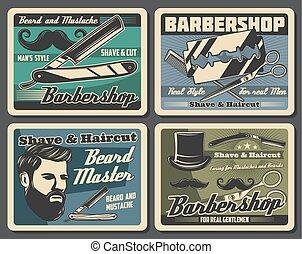 Barbershop razors, blades, haircut scissors, combs