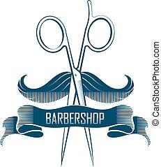 Barbershop scissors and mustache