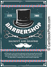 Barbershop scissors and mustaches, man hat