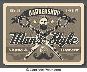 Barbershop scissors, man with beard and mustache