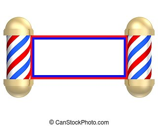 Illustrated rendering of a barbershop sign turned into a scroll