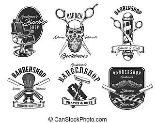 Barbershop service, pole, haircut icons