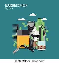Barbershop services vector flat style design illustration -...