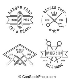 Barbershop set of vector monochrome labels on white background