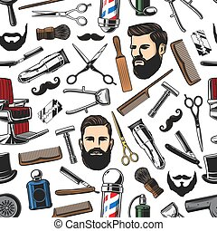 Barbershop shave and man haircut seamless pattern -...