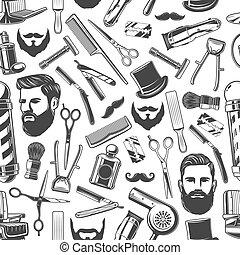 Barbershop shaving haircut seamless retro pattern -...
