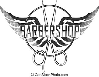 Barbershop silhouette scissors