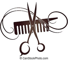 Barbershop symbol template icon - Scissors and Comb symbol...