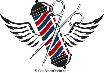 Barbershop symbol with scissors