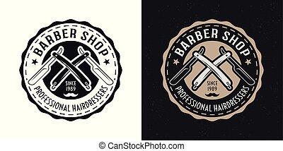 Barbershop vector badge with straight razors