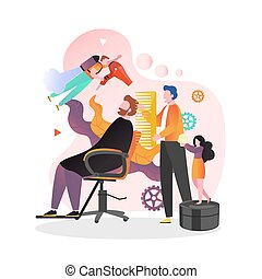 Barbers male and female characters doing man hairstyle with hairdryer and comb, vector illustration. Barbershop man beauty parlour salon services concept for web banner, website page etc.