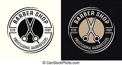Barbershop vector round badge with scissors