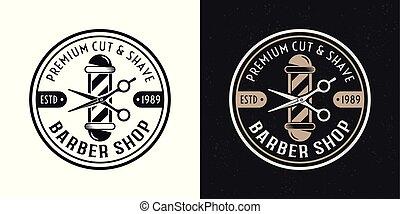 Barbershop vector two style vintage round badge