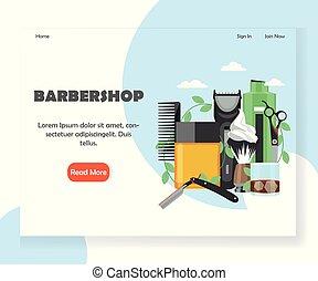 Barbershop vector website landing page design template -...