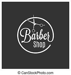 barbershop vintage logo with barber scissors on black background