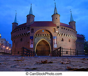 A gate to Krakow - the best preserved barbican in Europe, Poland by night