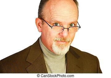 barbiche, sur, chauve, regarder, homme, lunettes, beau