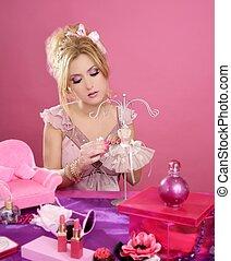 barbie doll blonde pink vanity table fashion designer