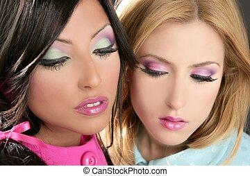 barbie, kvinnor, docka, 1980 stil, fahion, smink