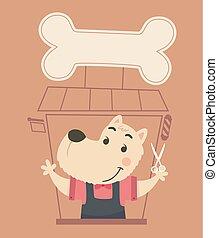 barbiere, cane, illustrazione